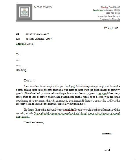 Complaint Letter Onet